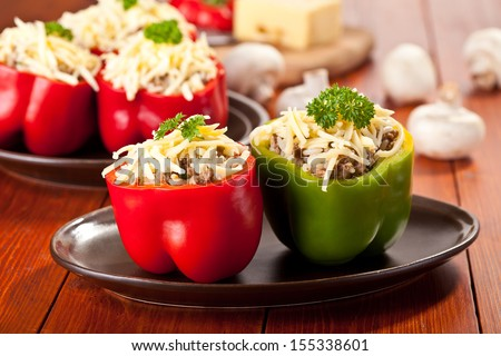 Stuffed peppers roasted with cheese