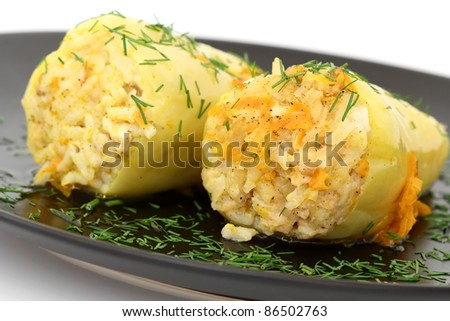 Stuffed Peppers with chiken and rice