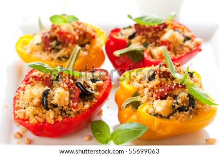 Stuffed Peppers With Couscous, Dried Tomatoes,Feta,Olives And Basil ...