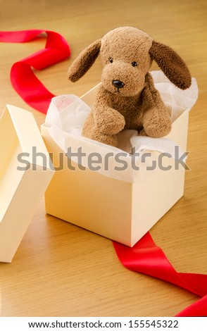 Stuffed puppy toy in gift box