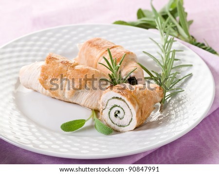 stuffed roll of turkey