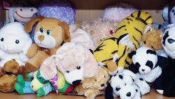Stuffed soft animal toys waiting for a child to play at home