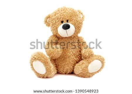 stuffed teddy bear sitting coffee Stockfoto ©