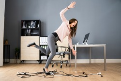 Stumble And Fall Over Wire In Office