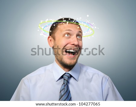 Stunned with happiness business manager, concept strike happy