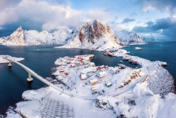 Stunning aerial view of winter Hamnoy village. Rorbu village in Lofoten islands, Norway.