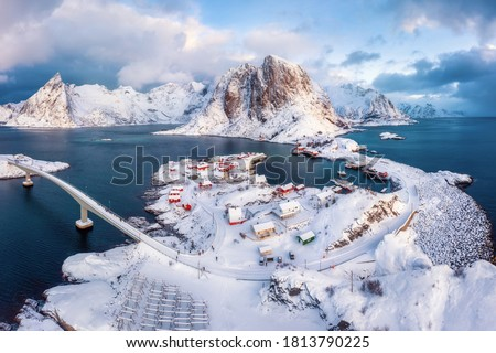Stunning aerial view of winter Hamnoy village. Rorbu village in Lofoten islands, Norway.