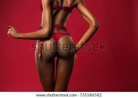 stunning african sexy woman posing in elegant underwear