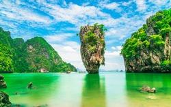 Stunning amazed nature scenic landscape James Bond island Phang-Nga bay, Famous fantastic landmark travel Phuket Thailand Tourism beautiful destination popular place Asia, Summer holiday vacation trip