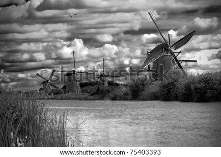 stunning black and white landscape with windmills in netherland