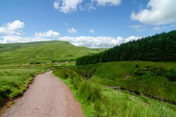 Stunning cloudy sky in Brecon Beacons National Park in south Wales.