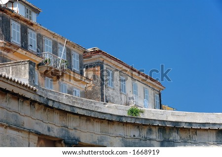 stunning curves in this photo detail of the architecture seen in the Old Town of Corfu island Greece