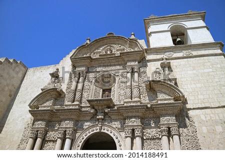 Stunning Facade of Church of the Society of Jesus (Iglesia de la Compania) in Arequipa, Historic place in Peru, South America Foto stock ©
