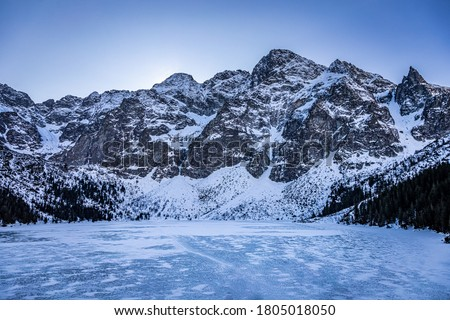 Stunning frozen Morskie Oko lake in Tatra mountain, Poland Stock fotó ©