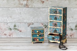 Stunning handmade jewellery boxes with decoupaged and gold leaf
