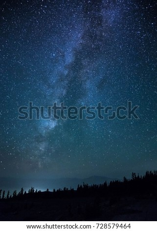 stunning image of the milky way galaxy in the night sky. space and the universe go spiraling out of the world which gives astronomers and astrophotographers a brilliant view. perfect for camping - Shutterstock ID 728579464