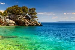 Stunning landscape with rocky island and clean water on the beach,Brela,Makarska riviera,Dalmatia,Croatia,Europe