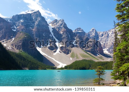 stunning moraine lake at banff national park, alberta, canada