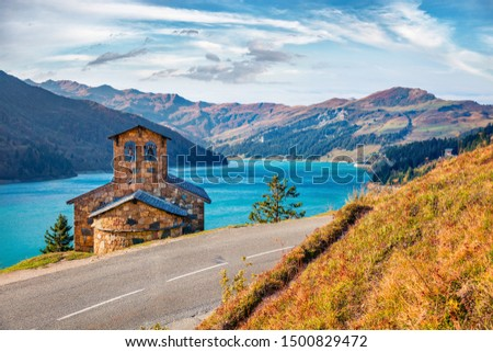 Stunning morning view of Roselend lake (Lac de Roselend). Splendid autumn scene of Auvergne-Rhone-Alpes, France, Europe. Beauty of nature concept background. #1500829472