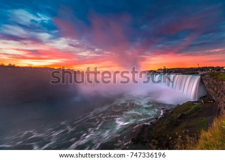 Stunning Niagara Falls Waterfall and Colorful Sky at Dawn  #747336196