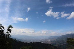 Stunning overview of the valley from Medellin city in Colimbia South America. View from the hill where the Pablo Escobar Prison is.
