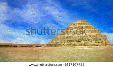Stunning panorama view of the Pyramid of Djoser (Step Pyramid) in the afternoon sunny day at the necropolis of Saqqara, near Cairo city. Its one of the must visit spot in Egypt.- oil painting.