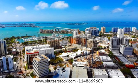 Stunning panoramic aerial view of downtown Sarasota, John Ringling Causeway, Sarasota Bay, Lido Key and Longboat Key. #1148669609