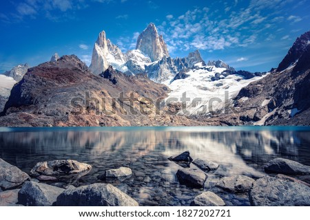 Photo of  Stunning panoramic view from the lagoon of Los Tres towards Mount Fitz Roy and Cerro Torre in Los Glaciares National Park near El Chalten, Argentina