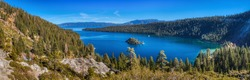 Stunning panoramic view of Emerald Bay and Fannette Island from a scenic overlook at Emerald Bay State Park, South Lake Tahoe, California