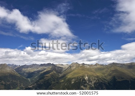 Stunning panoramic view of mountain range in the Alps, Lienzer Dolomites in Tyrol, Austria.