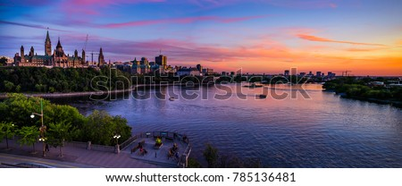Stunning Panoramic View of Ottawa River and Parliament of Canada Summer Sunset