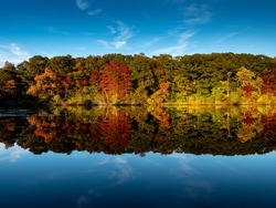 Stunning photo of fall foliage reflected on a lake with a glass like mirror water surface