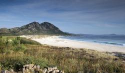 stunning sandy beach in galicia, spain in summer