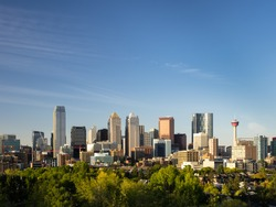 Stunning shot of Calgary skyline with a lot of copy space left intentionally.