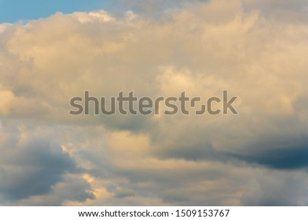 Stunning summer cloud scape - beautiful clouds floating across sky to change weather. Natural meteorology abstract background. Optical and atmospheric dispersion, soft focus, motion blur clouds. #1509153767