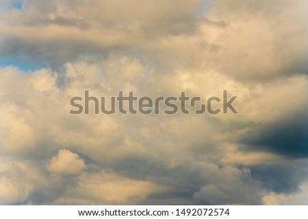 Stunning summer cloud scape - natural meteorology abstract background clouds floating across sky to change weather. Optical and atmospheric dispersion, soft focus, motion blur clouds. #1492072574