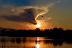 Stunning sunset at Rocky Mountain Lake, Denver, Colorado, USA