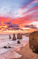 Stunning sunset at Twelve Apostles, Great Ocean Road, Victoria, Australia