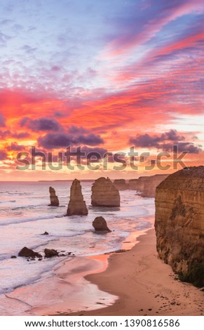 Stunning sunset at Twelve Apostles, Great Ocean Road, Victoria, Australia Stock photo ©