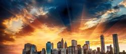 Stunning sunset colors over Lower Manhattan on a summer evening.