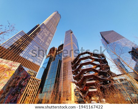 Stunning sunset photograph of the iconic Hudson Yards skyscrapers including The Vessel, located in Manhattan, New York Foto stock ©