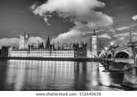 Stunning sunset view of London skyline. The Houses of Parliament and Westminster Bridge with Big Ben Tower.