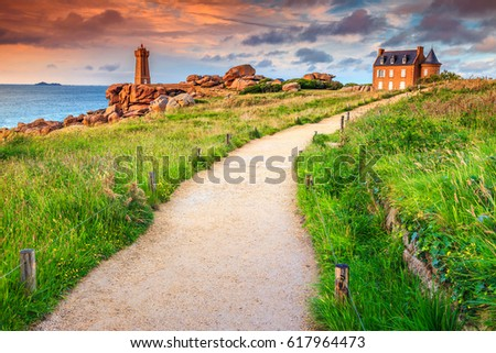 Shutterstock Stunning sunset with lighthouse of Ploumanach Mean Ruz in Perros-Guirec on Pink Granite Coast, Brittany, France, Europe