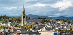 Stunning town view with St Eugene's Cathedral in Derry, Northern Ireland.