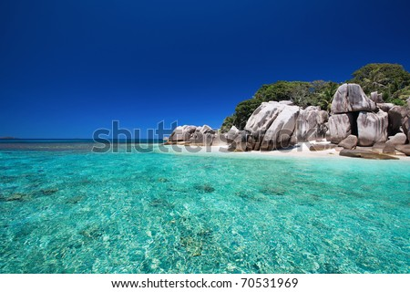 Stunning tropical beach onCoco island at Seychelles