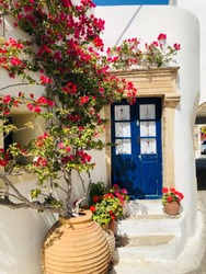 Stunning typical greek blue door surrounded by colorful flowers