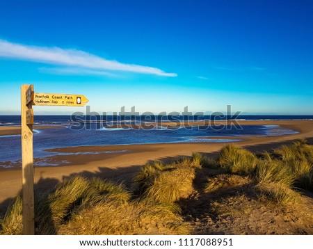 Stunning view across Burnham Overy Staithe beach, part of the Norfolk Coast Path