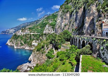 stunning view of Amalfi coast - stock photo