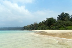 Stunning view of Elephant Beach near Radhanagar Beach on Havelock Island. Havelock Island is a beautiful small island belonging to the Indian Andaman Nicobar Islands. Paradise in Southeast Asia.