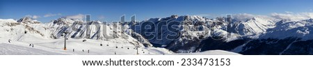 stunning view of skiing resort in Alps. Livigno, Italy #233473153